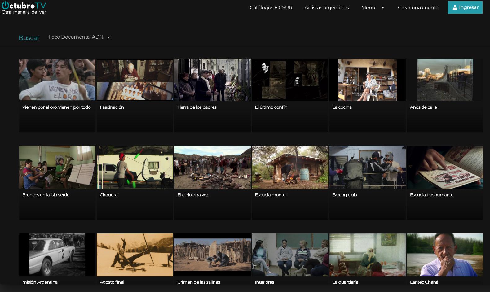Ciclo Foco Documental Adn en OctubreTV 2020